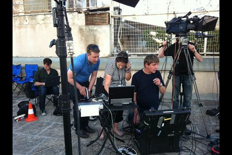 Sarah Corp with Channel 4 News team reporting on the Greek Elections in 2012.